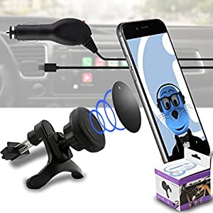 Case Compatible Multi-direction (Use with or without your existing case!) Black Magnetic Air Vent In Car Holder with 1000 mAh MicroUSB In Car Charger for Cubot Manito