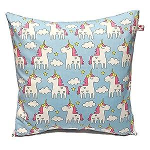 TryPinky® Kissenbezug 40 X 40 cm Einhorn Pärchen Hallblau Handmade unicorn Kissenhülle 100% Baumwolle BW Pink Einhörner Hellblau Grau Punkte Wolken