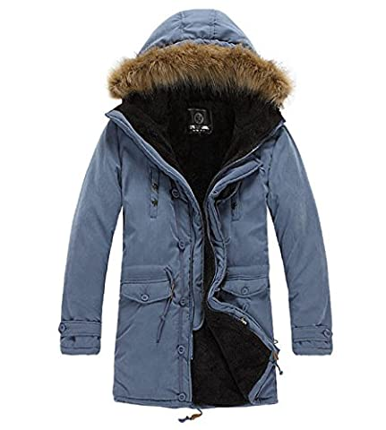 Monissy Mantel Herren Parka Mit Kapuze Und Fell Warme Outerwear Lang Jacke Herren Trench Coat Winterjacke Windjacke