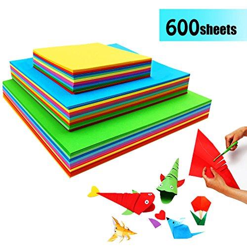 Origami Papier Faltpapier - 600 Blatt Doppelseite Buntes Papier Bastelpapier Set für Origami und Bastelprojekte