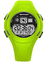 SANDA - Reloj Electrónico LED Alarma para Niños Reloj de Pulsera Digital para Estudiantes Resistente al