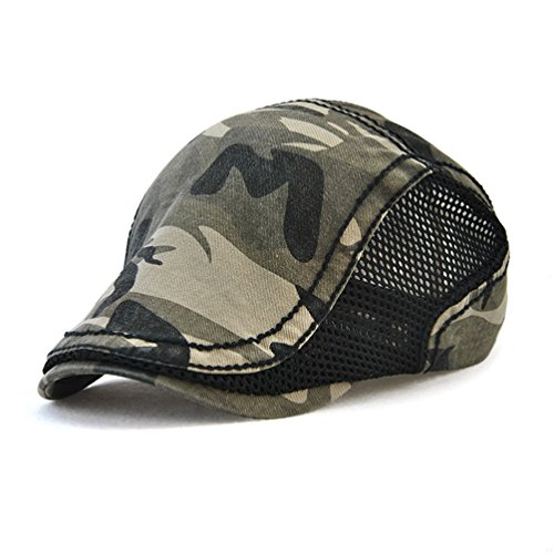 GADIEMENSS Fashion Cap Flat Cap Bill Camouflage Mesh Beret Coffee Hats for Men Ivy Mesh Cap Woman Cap Camouflage Sport Newsboy Cap Mesh Summer Breathable Black (Ivy Hat)