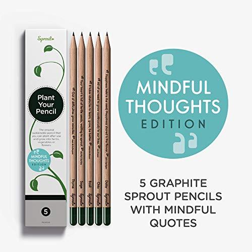 Sprout Pencils | Edizione con aforismi delle matite Sprout | 5 matite piantabili da disegno in grafite | Legno naturale biologico