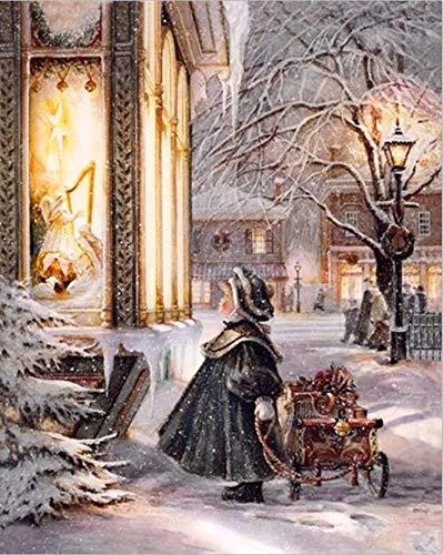LamIzzoo Roung Diamant malerei Stickerei Diamant kreuzstich Hand gesetzt Strass Handwerk malerei das Kind Winter (Handwerk Kinder Winter)