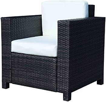 Single Cube Aluminium and Rattan Garden Sofa Chair