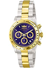invicta watches shop amazon uk invicta men s 3644 speedway quartz watch blue dial chronograph display and gold stainless steel bracelet