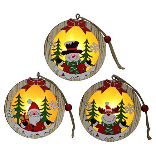 Amosfun - lanterna natalizia da appendere, in legno, decorazione per albero di natale, pasqua, matrimonio, 3 pezzi, plastica, round, medium