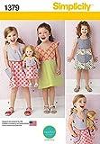 Simplicity Mädchen & Puppen einfaches Schnittmuster 1379passenden Kleider