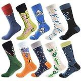 BONANGEL Calcetines Estampados Hombre, Hombres Ocasionales Calcetines Divertidos Impresos de Algodón de Pintura Famosa de Arte Calcetines, Calcetines de Colores de moda (10 Pares-Shark 3)
