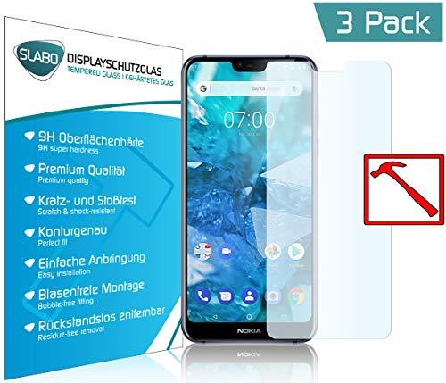 Slabo 3 x Premium Panzerglasfolie für Nokia 7.1 Panzerfolie Schutzfolie Echtglas Bildschirmschutzfolie Folie (verkleinerte Folien, aufgr& der Wölbung des Bildschirms) Tempered Glass KLAR - 9H Hartglas