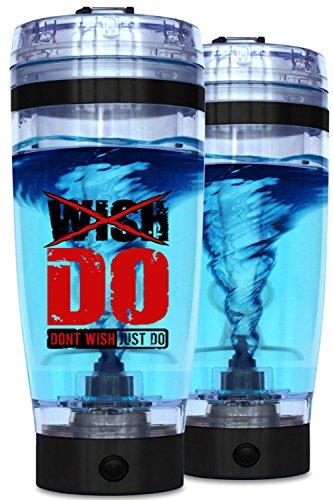 Preisvergleich Produktbild Wish Do Elektrischer Shaker / Mixer für Proteinshakes, 16.000 U/min, aufladbar via USB 2.0, Shaker-Flasche, 100 % auslaufsicher, tragbarer Vortex-Tornado-Mixer, 600 ml, inkl. Behälter für Nahrungsergänzung