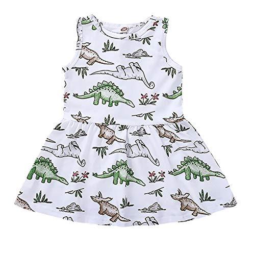 Knowin Mädchen Ärmelloses Kinder Weste Kleid Cartoon Dinosaurier Sommerkleid Drucken Kleid Outfit Baby Mädchen Prinzessin Kragen Kurze Tops Baby Sommer Kleidung