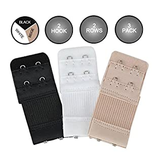 FIMS – Fashion is my style Bra Hook Extender-2 Hook – 3 Eye (with Extra Elastic) -Save Your Bra Increase Band Length_Bra Extensions_Bra Extender Hook_Bra Hooks for Women_Bra Hook and Eye_Bra Hook Extender Combo