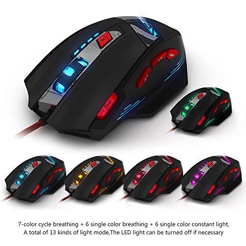 Gaming Maus, ECHTPower Computer Laser Optische Gaming Mouse, 9200DPI PC Gamer Maus mit einstellbarer DPI, 8 Stk. Gewichten, LED Beleuchtung, 8 Tasten, USB kabelgebundene, Groß, Rechtshänder - 4