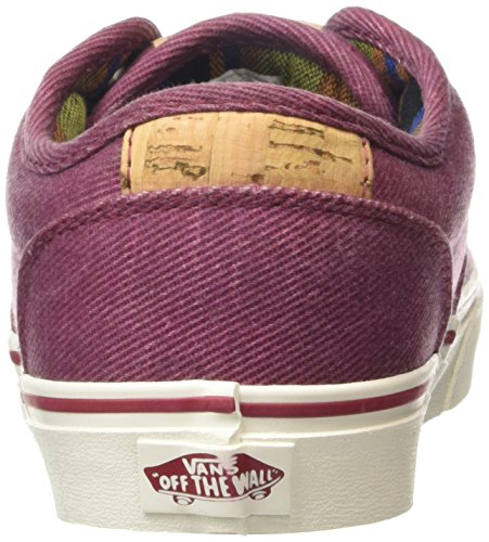 Vans Atwood Deluxe, Baskets Basses Homme Rouge (Washed Twill/Red/Marshmallow)