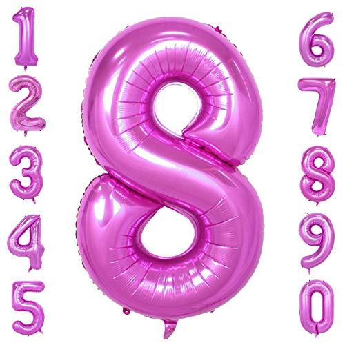 -9 in Rosa Nummer Foil Ballons Helium Zahlenballon Luftballon Riesenzahl Party Hochzeit Kindergeburtstag Geburtstag Nummer 8 ()