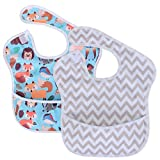 Luxja Baby Lätzchen Wasserdicht (Packung mit 2), Armellatzchen Abwaschbar (für Kleinkinder von 6-24 Monate), Graues Chevron + Waldfest
