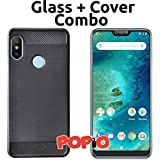 POPIO Back Cover Case and Tempered Glass Combo for Xiaomi Redmi 6 Pro