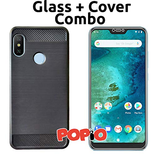 POPIO Back Cover Case and Tempered Glass Combo for Xiaomi Redmi 6 Pro (Black)