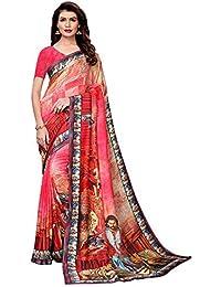 8673039e6b AKHILAM Women's Bahubali Digital Printed Art Silk Saree with Unstitched  Blouse Piece (Pink_BHBLI13)