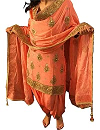 Sai Creation Women's Orange Paper Silk Patiala Salwar Suit For Women(X227_orange_FreeSize)