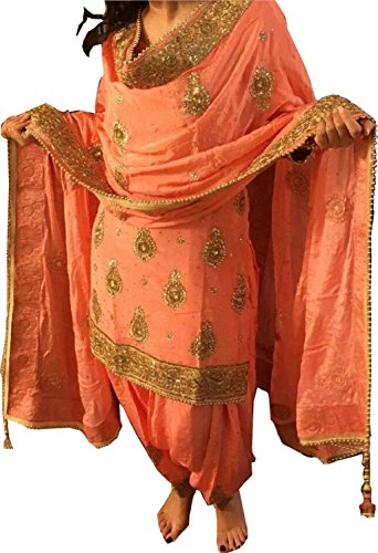Sai creation Women\'s Orange paper Silk Patiala Salwar suit for women(X227_orange_FreeSize)
