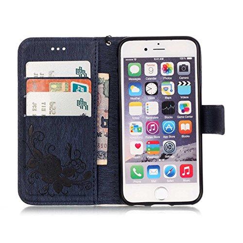 iPhone Case Cover IPhone 6 6s Plus Case, Haute Qualité Synthétique PU Housse en Cuir avec Résine 3D Rhinetone Papillon Embossée Fleurs Housse Portefeuille Housse Avec Sangle de Main pour iPhone 6 6s P Dark Blue