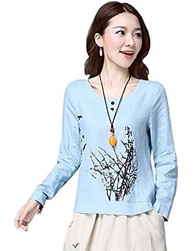WHTCE T-shirt Da Donna Manica Corta Temperamento Di Moda Facile Da Pulire Anti-usura Morbida