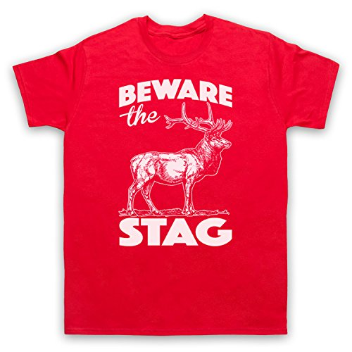 Beware The Stag Stag Do Slogan Herren T-Shirt Rot