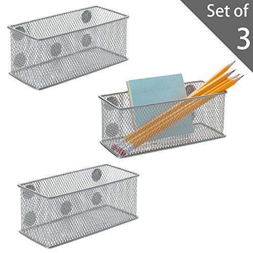 Set von 3Metall Mesh Magnet Lagerkästen, Office Supplies Organizer Körbe, silber