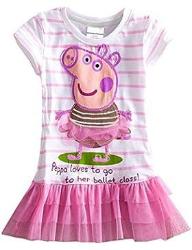 AIMADO Vestido con Vuelo para Niñas de 2-9 Años para Verano de Algodón, Tutú Peppa Pig Animados Vestido Infantil...