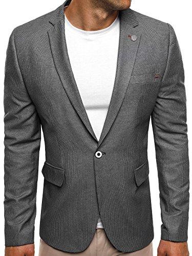 OZONEE Herren Sportsakko Sportliche Sakko Jackett Slim Fit Blazer Anzugjacke Business Anzug Kurzmantel BLACK ROCK 02 M DUNKELGRAU