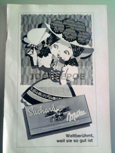 60er Jahre : SUCHARD MILKA/MOTIV MÄDEL-SCHMETTERLING - alte Werbung /Originalwerbung/ Printwerbung /Anzeige /Anzeigenwerbung Format 15,5 x 27,5 cm