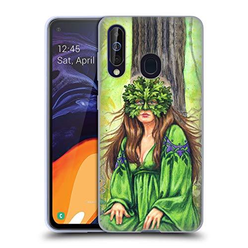 Göttin Grünen T-shirt (Head Case Designs Offizielle Jane Starr Weils Grüne Frau Göttin 1 Soft Gel Huelle kompatibel mit Samsung Galaxy A60 (2019))
