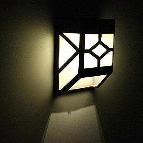Bluelover 0.2W Powr Solar montado en la pared 2 LED luz jardín paisaje cerca impermeable lámpara-blanco