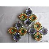 SI Marketing Design Colour Handmade Earthen Clay / Terracotta Decorative Dipawali / Diwali Diya / Tealight / Oil Lamps For Pooja [Piece Of 12] (colour May Vary) - B075FQKWHQ