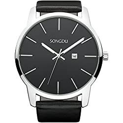 SONGDU Men's Elegant Big Face Quartz Watch Wristwatch With Date Display Black Leather Strap Alloy Watch Case and Black Dial DM-9207-P01EY