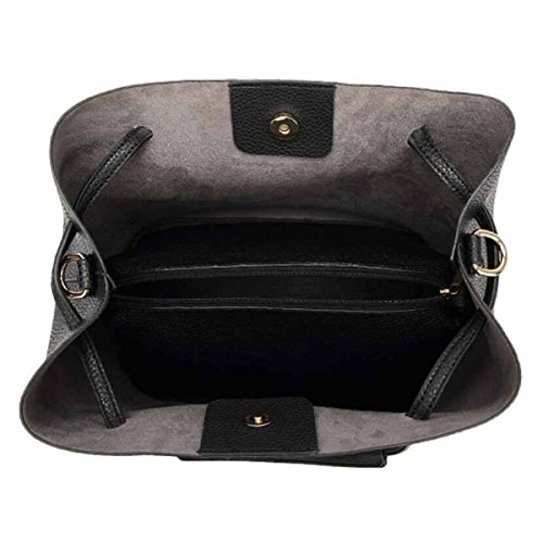 Damen Tasche Handtasche Schultertasche Messenger Bag Mutter Tasche Litchi Fashion Wild Tide Paket,Black Black