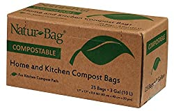 (Pack of 2) Natur-Bag Small Food Waste Compostable Bags - 3 Gallon, 25 Bags - For Food Scraps