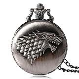 TopschnaeppchenDSH Game of Thrones Haus Stark Schattenwolf Taschenuhr mit Halskette