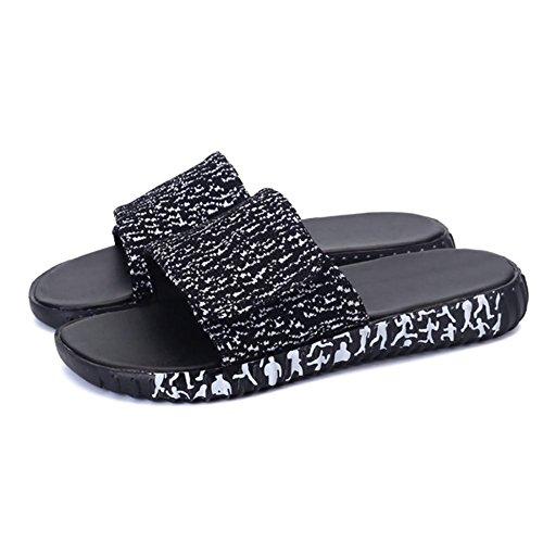 SHANGXIAN Cozy unisexe tricoté respirant Summer Skidproof pantoufles d'intérieur Black