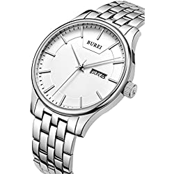 BUREI Men's Quartz Wrist Watches with Day and Date Calendar Stainless Steel Bracelet