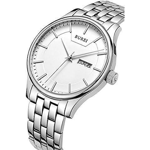 BUREI da uomo al quarzo orologio da polso con calendario giorno e data bracciale in acciaio inox