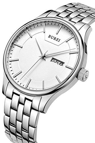 BUREI hommes Montres bracelets en quartz avec cadran blanc montres jour et date calendrier argent bande d'acier inoxydable (argent)