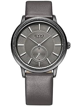 Alienwork Quarz Armbanduhr elegant Quarzuhr Uhr modisch grau Leder YH.EET1011-01