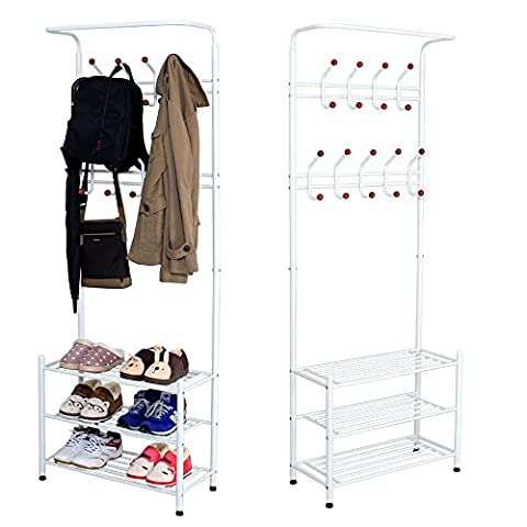 Sungle® Porte-manteaux avec rangement à chaussures en métal 67*31*187cm (Blanc)