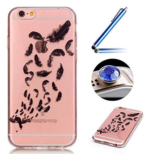 iPhone 6 Plus Coque,iPhone 6S Plus Housse Diamant,ETSUE Mode Luxe Miroir Bling Glitter iPhone 6 Plus Silicone Coque Luxueux Crystal Scintiller Doux Coque Bague Etui Rose Romantique Élégant Fleur Couro Plume nombreux