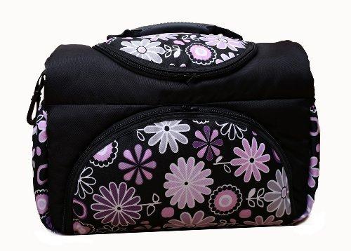 Wickeltasche PIA Baby-Joy XXL XXXL Übergroß Windeltasche Pflegetasche Babytasche Tragetasche: Farbe: TP-15 Schwarz Lila Blumen