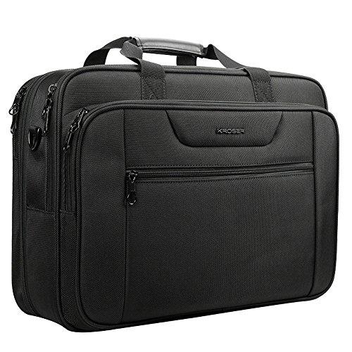 KROSER Laptop Tasche XXL 18,5 Zoll Business Aktentasche Passt Bis Zu 18 Zoll Laptop Wasserabweisend Tasche Umhängetasche Erweiterbar Kapazität für Reisen/Schule/Männer/Frauen-Schwarz MEHRWEG