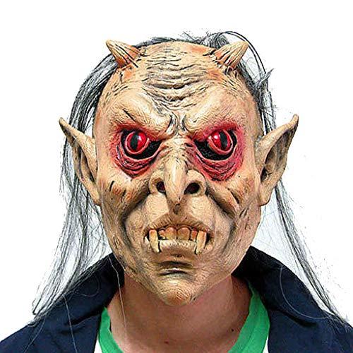 Halloween christmas masquerade horror mask smorfia maschera di fantasma dai capelli grigi dagli occhi rossi maschere (color : gray, size : 22 * 22cm/9 * 9inch)